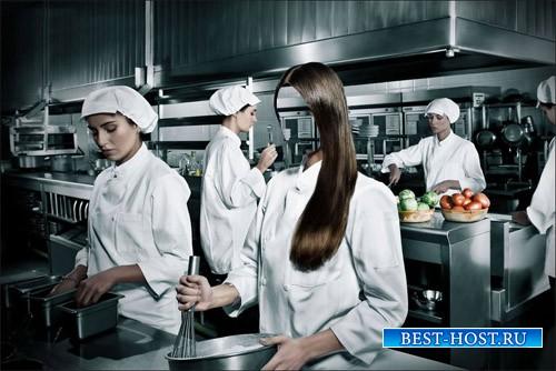 Девушка повар профессиональной кухни - шаблон psd женский