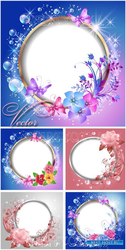 Фоны с цветочными рамками / Backgrounds with roses and butterflies - vector ...