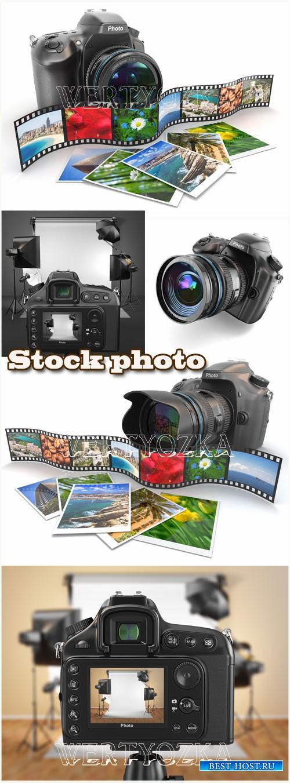 Фотоаппарат, сьемки фотоаппаратом / Camera, filming camera - raster clipart
