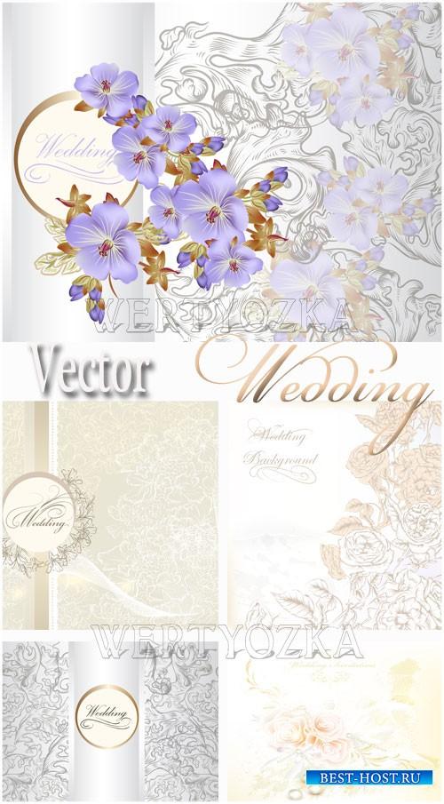 Свадебные фоны с цветами / Wedding backgrounds with flowers - vector clipart