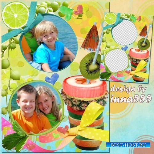 Рамка для двух фотографий - Тропический коктейль