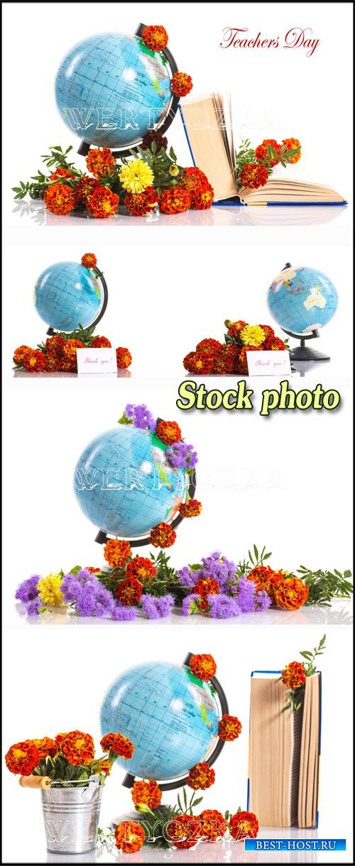 Глобус с цветами  / Globe with flowers - Raster clipart