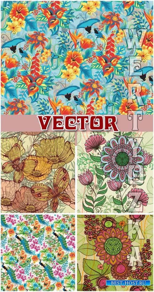 Векторные фоны с цветами и птицами / Vector background with flowers and birds