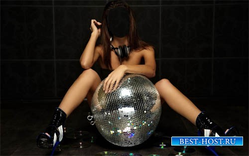 Шаблон для фото - Брюнетка DJ с клубными аксессуарами