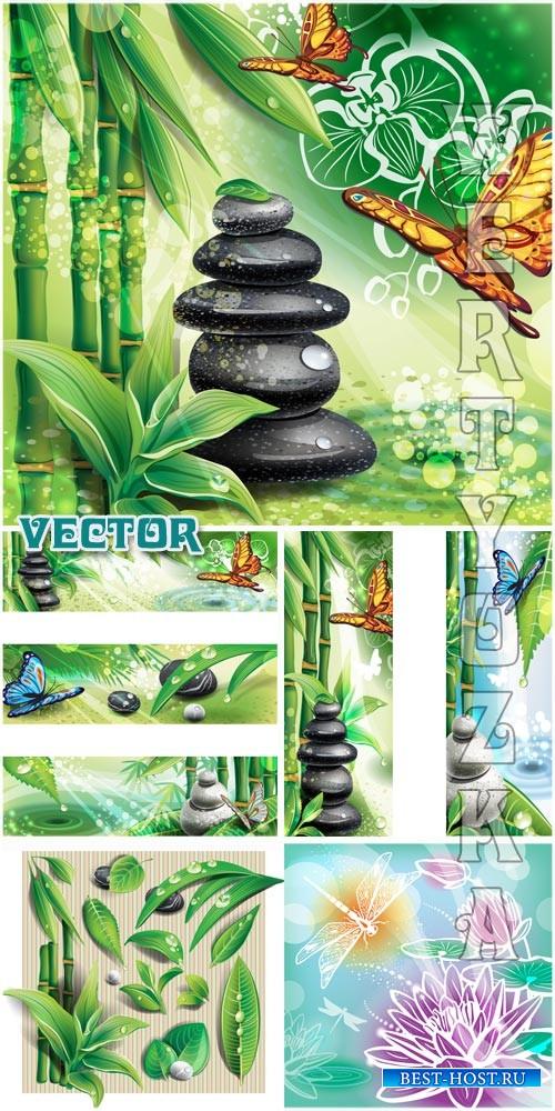 Спа фоны с камнями, бамбуком и бабочками / Spa background with stones, bamb ...