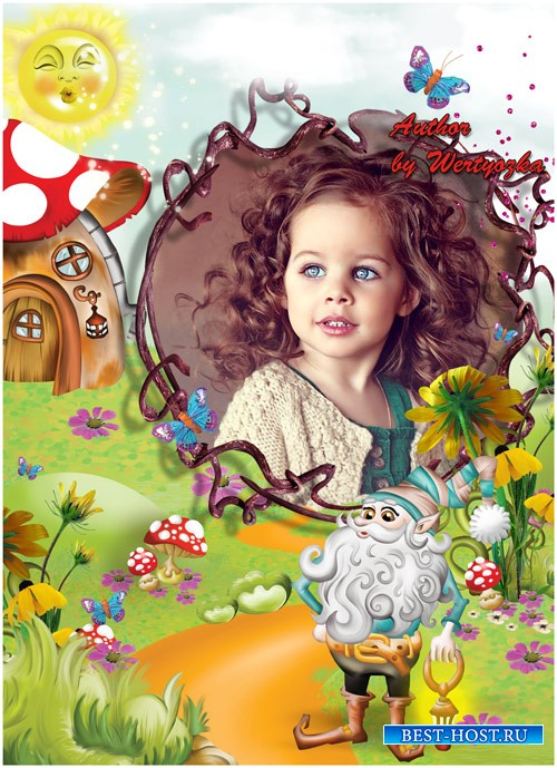 Детская рамка для фотошопа - В гостях у сказочного гномика