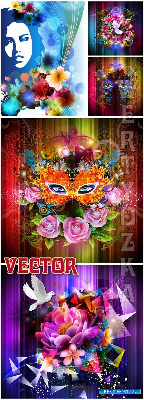 Фоны с цветами, маской  и силуэтом девушки / Background with flowers, a mask and a silhouette of a girl - Vector clipart