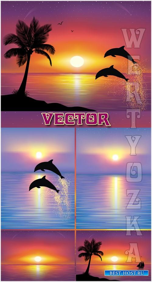 Морские пейзажи и дельфины / Seascapes and the dolphins - Vector clipart