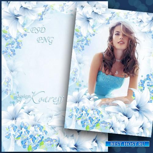 Романтическая женская рамка для фотошопа в нежно-голубых тонах - Легкая зад ...