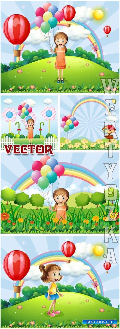 Праздничные детские фоны с девочкой / Celebratory children's backgrounds with a girl - vector clipart