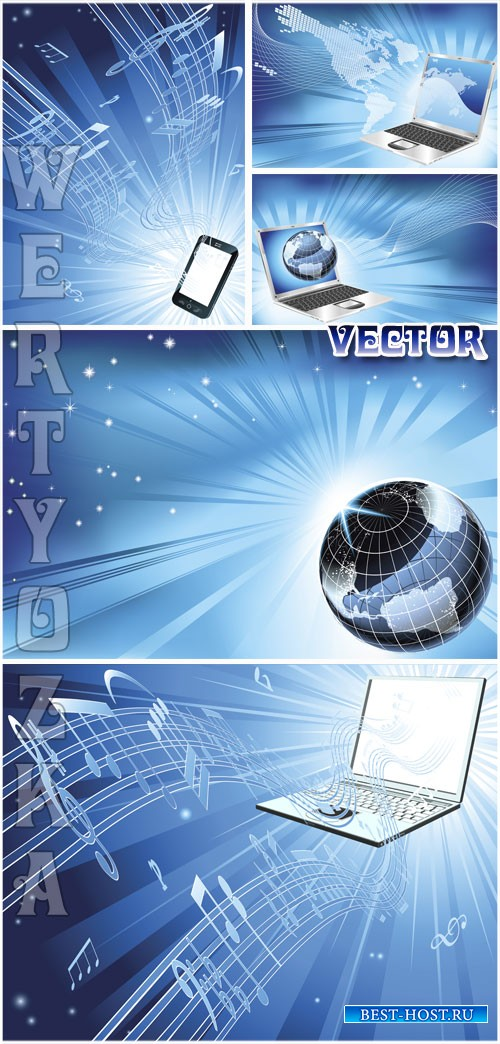 Современные технологии, ноутбук, смартфон / Modern technology, laptop, smart phone - vector clipart