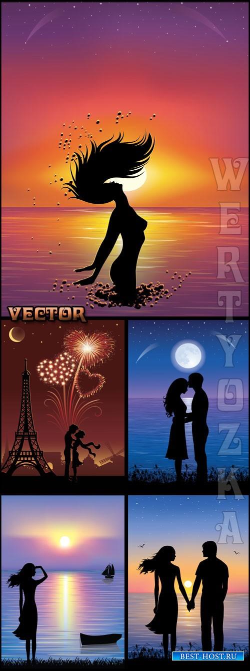 Влюбленные на фоне заката / Lovers at sunset - vector
