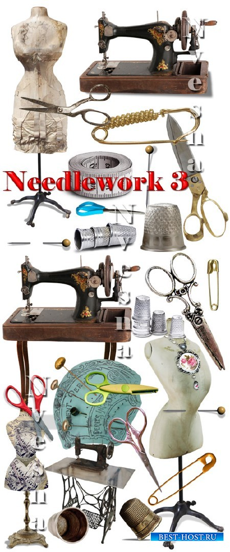 Клипарт в PNG – Швейные машинки, ножницы и манекены