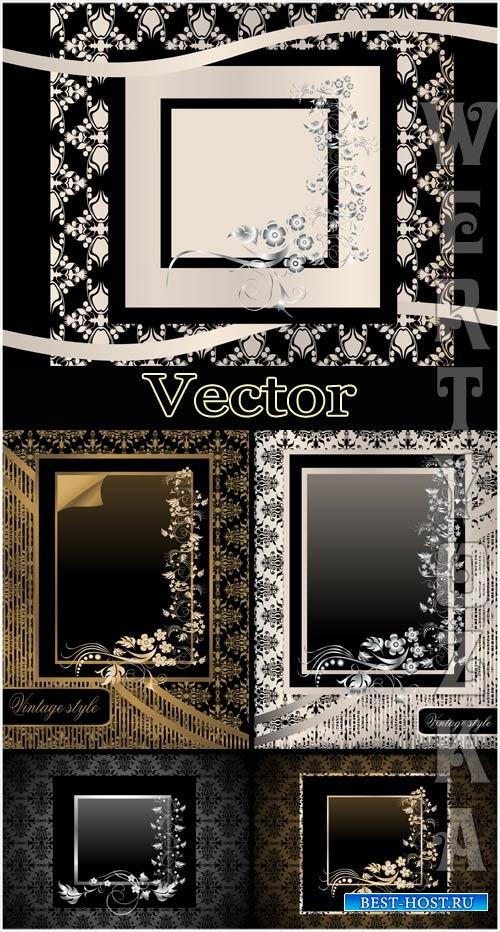 Векторные черные фоны с золотым и серебристым декором / Vector black backgr ...