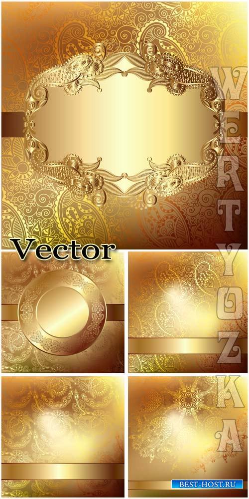 Золотые векторные фоны с чудесными узорами / Golden vector backgrounds with ...