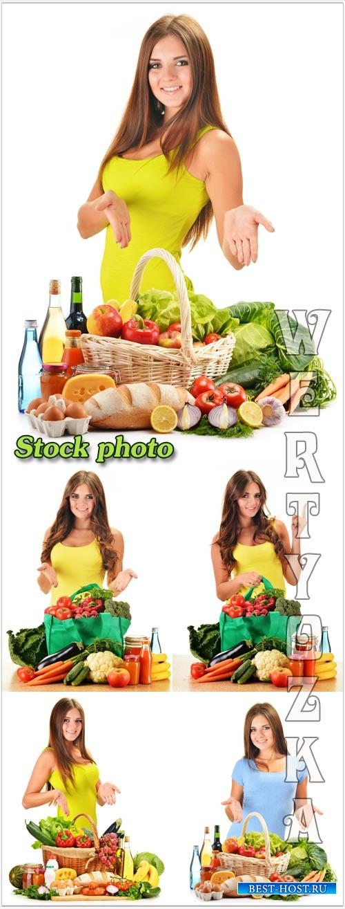 Девушка с корзиной овощей, продукты питания / Girl with a basket of vegetables, food - raster clipart