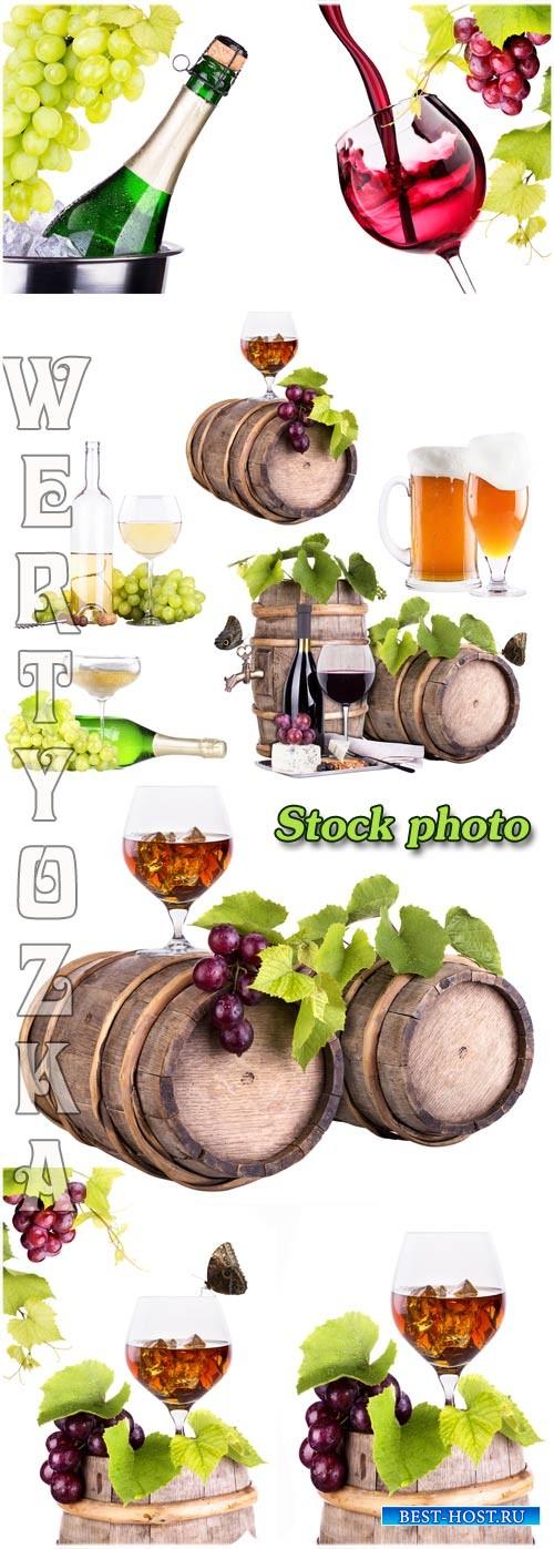 Вино, бочка с вином на белом фоне / Wine, barrel with wine on a white backg ...
