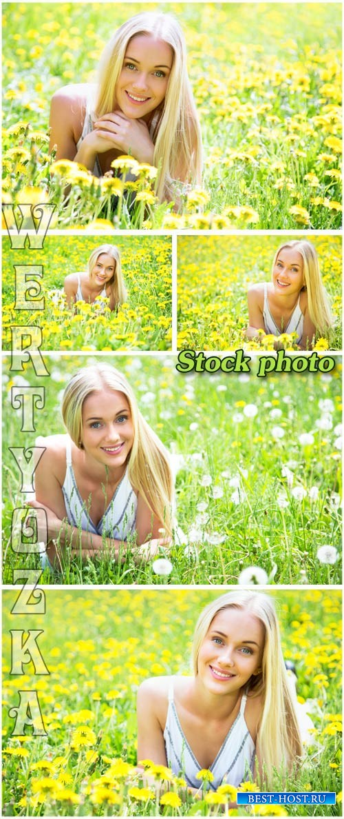 Девушка в поле с цветами и одуванчиками / Girl in a field with flowers and  ...