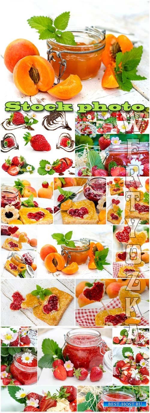 Ягоды, клубника и абрикос / Berries, strawberries and apricots - Raster clipart