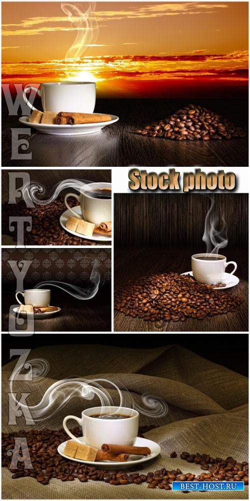 Ароматный кофе на фоне заката / Fragrant coffee on a background of a sunset - Raster clipart