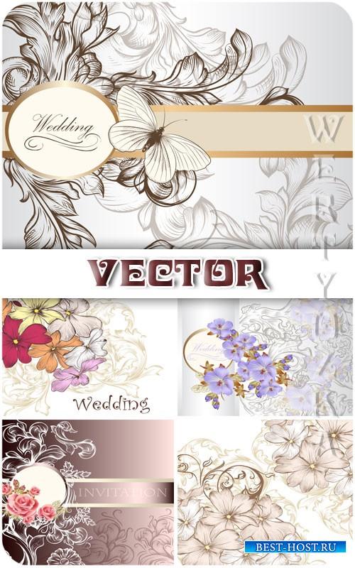 Свадебные фоны с цветами и бабочками / Wedding backgrounds with flowers and ...