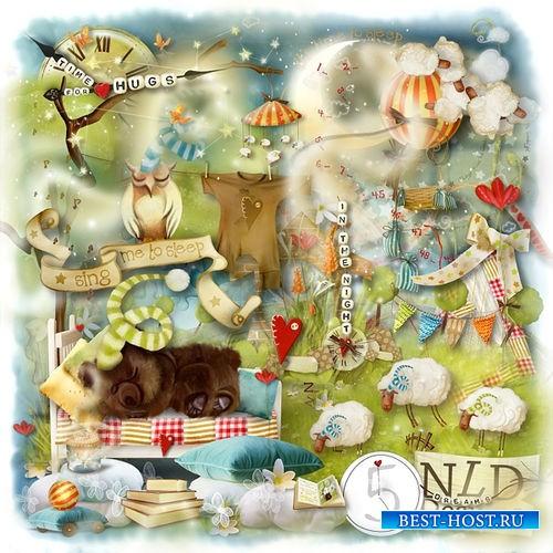 Детский нарисованный скрап-комплект - Спокойной ночки