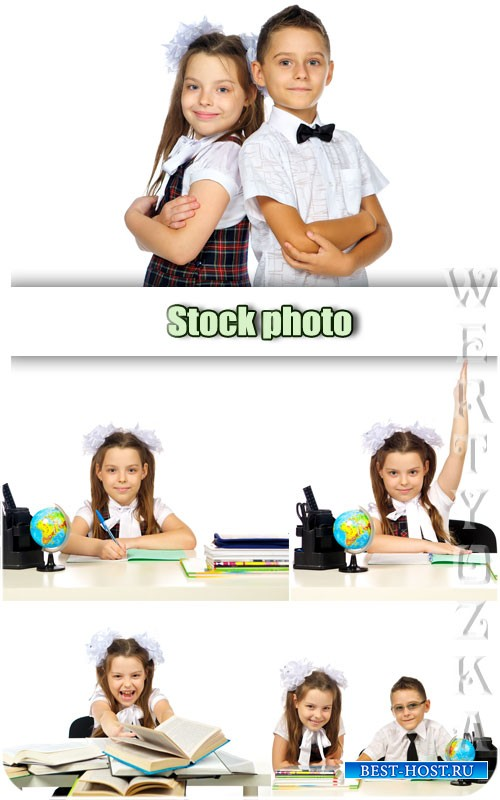 Школьники, школьник и школьница / School children, schoolboy and schoolgirl - Raster clipart