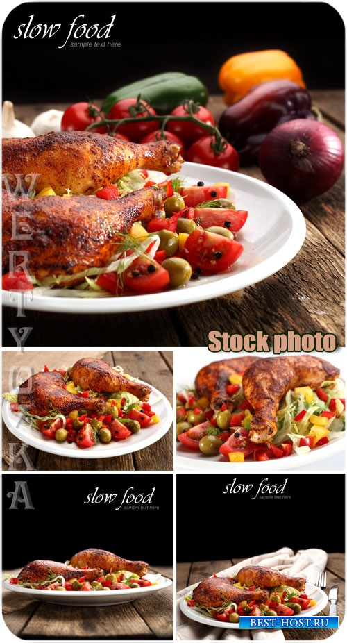 Курица с овощами / Chicken with vegetables - Raster clipart