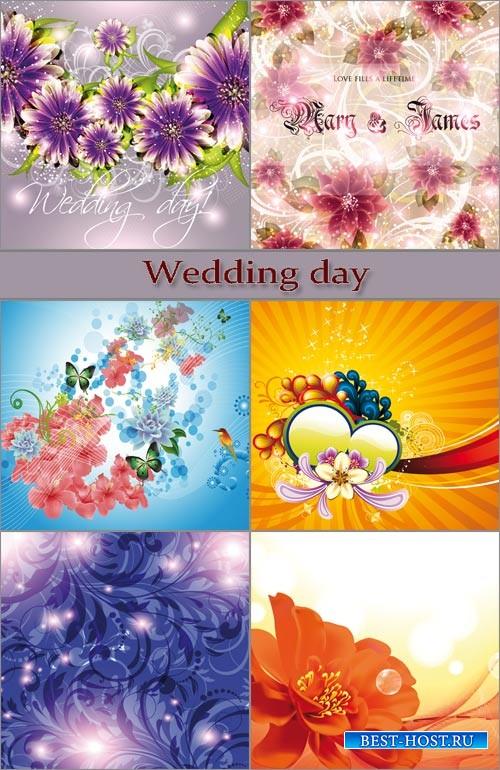 Векторные фоны - Свадебный день