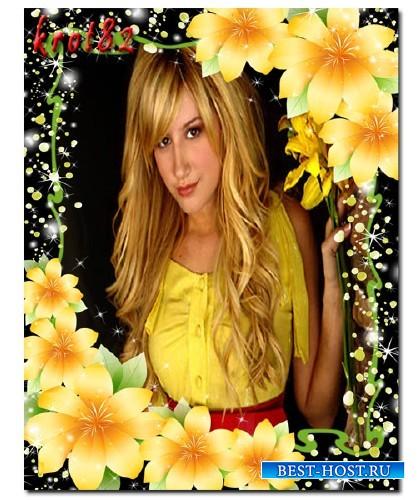 Цветочная рамка для фото - Для тебя расцветают под звездами незабвенные счастья цветы
