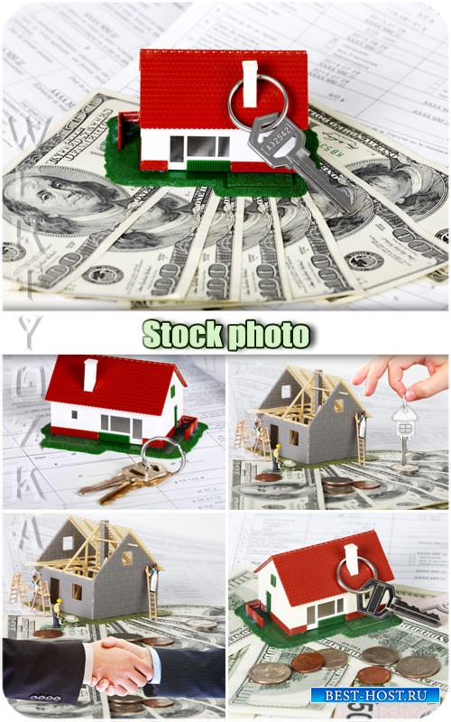Строительство дома / Construction of the house, the keys to a new home - Raster clipart