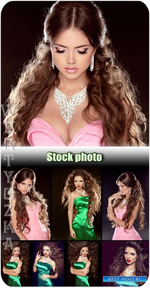 Шикарная девушка с длинными волосами / Gorgeous girl with long hair - Raster clipart