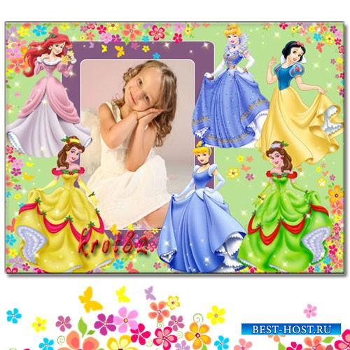 Фоторамка для девочки – В окружении диснеевских принцесс, Белоснежки и Ариэль