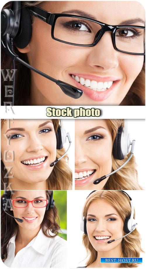Девушки операторы / Girls operators - Raster clipart