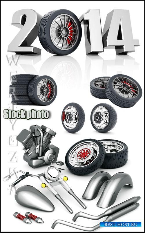 Авто запчасти, автомобильные шины / Auto parts, tires - Raster clipart