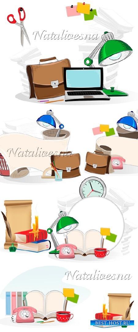 Школьные композиции с портфелем и книгами в Векторе