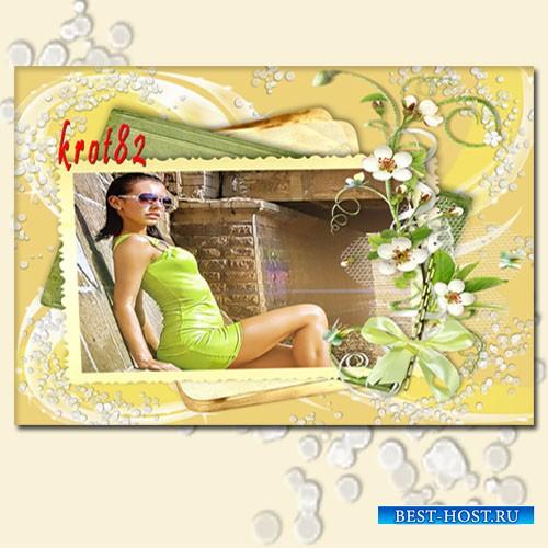 Фоторамка для девушек с цветами - Сегодня воздух разноцветен