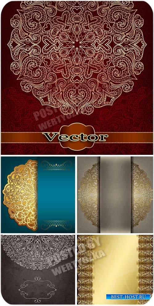 Роскошные векторные фоны с золотыми узорами / Luxury vector background with ...