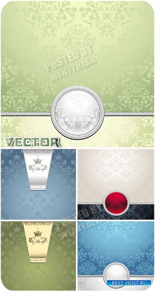 Векторные фоны с серебристыми узорами / Vector background with silver ornam ...