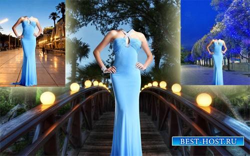 Шаблон для photoshop - Вечернее роскошное платье