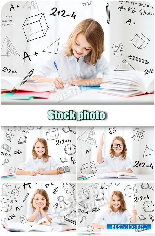 Девочка школьница делает уроки / Girl schoolgirl does his homework - Raster clipart