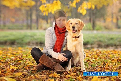 Шаблон для фотошопа - Осенняя прогулка с лабрадором