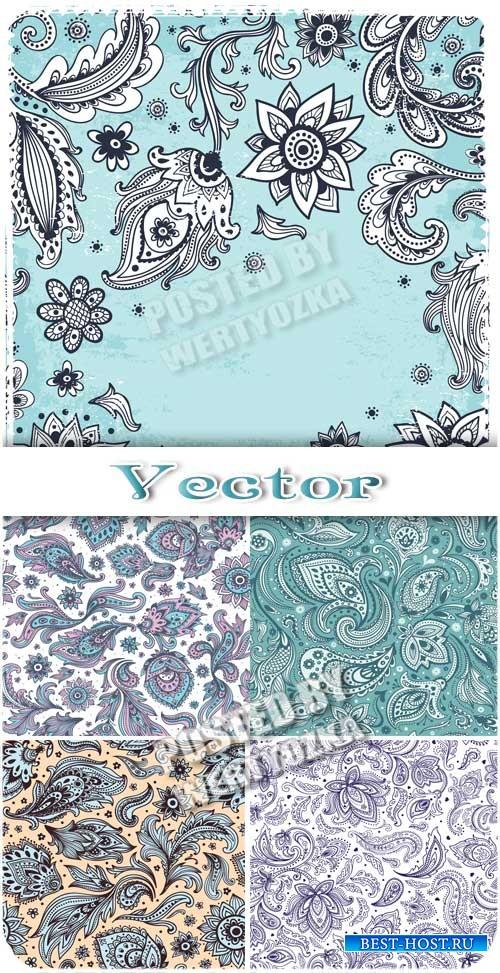 Векторные фоны с цветочными узорами, цветы и листья / Vector background wit ...