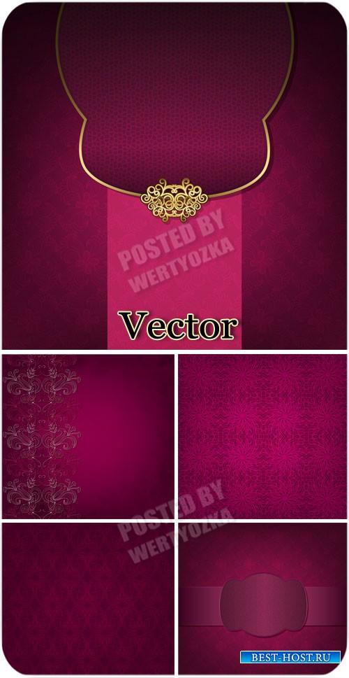 Розовые векторные фоны с узорами и золотым декором / Pink vector background ...