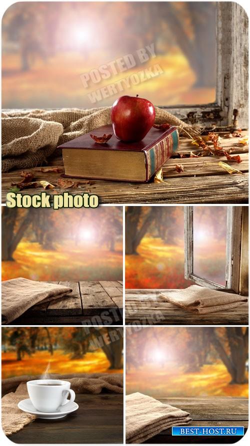 Осенний пейзаж за окном /  Autumn scenery outside the window - raster clipa ...