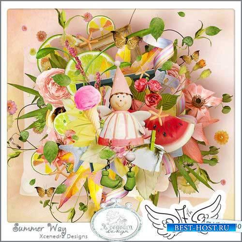 Красивый цветочный скрап-комплект - Летний путь