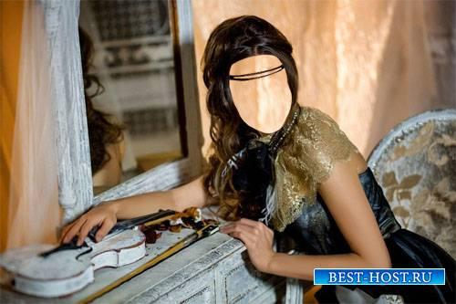 Шаблон для фотомонтажа - Девушка в платье сидя у зеркала