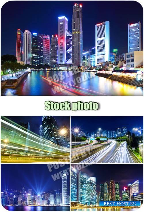 Ночной город, ночные дороги / Night city, night road - stock photos