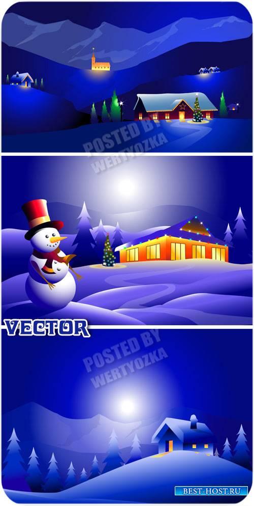 Снеговик и чудесная зимняя ночь / Snowman and a wonderful winter night - vector stock