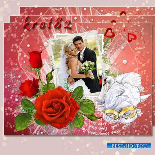 Свадебная рамка с цветами, лебедями и золотыми кольцами - Пусть молодость волнует кровь